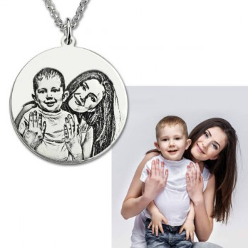 Round Photo Engraved Necklace Sterling Silver
