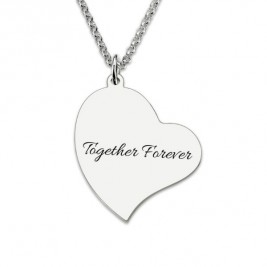 Photo Engraved Heart Necklace Sterling Silver