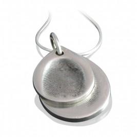 925 Sterling Silver FingerPrint Cascade TearDrop Pendant
