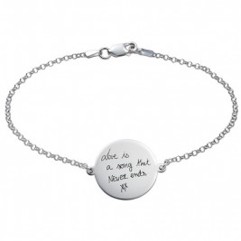 Engraved Handwriting Bracelet - Disc Shaped