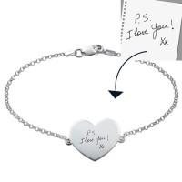 Engraved Handwriting Bracelet - Heart Shaped