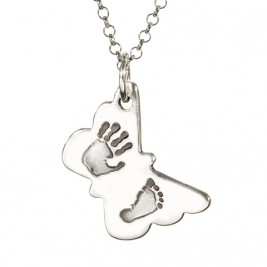 Butterfly Hand Foot Print Necklace