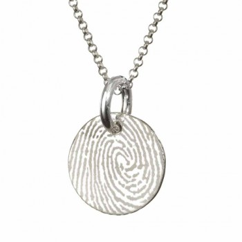 Pattened FingerPrint Circle Pendant