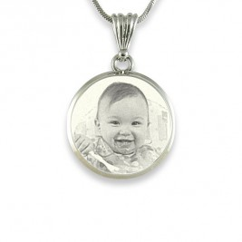 Photo Engraved Silver In Circle Pendant Necklace