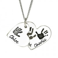 925 Sterling Silver Hand/Footprint Cascade Double Heart Pendant