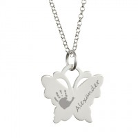 Engraved Butterfly Handprint Necklace