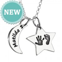 Moon & Star Hand & Foot Print Necklace