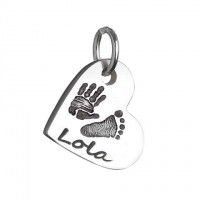 925 Sterling Silver Hand / Footprint Heart Charm Necklace