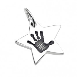 925 Sterling Silver Hand / Footprint Star Pendant