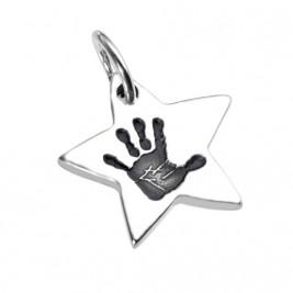 925 Sterling Silver Hand / Footprint Star Pendant