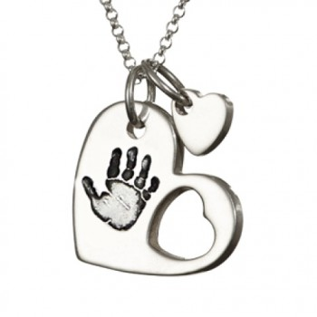 925 Sterling Silver Cut Out Heart Handprint Necklace