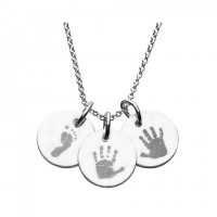 925 Sterling Silver Hand/Footprint Engraved Disc Pendant