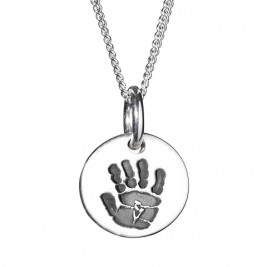 925 Sterling Silver Hand / Footprint Medium Circle Pendant