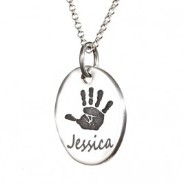 925 Sterling Silver Actual Hand / Footprint Medium Tear-drop Pendant