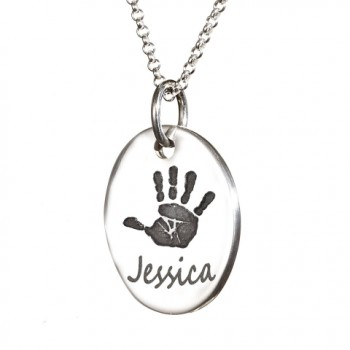 925 Sterling Silver Hand / Footprint Medium Tear-drop Pendant