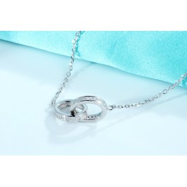 Sterling Silver Double Rings Charm Necklace