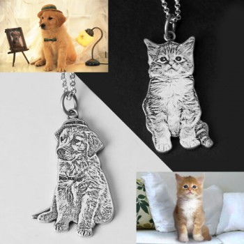Pet Dog Cat Photo Engraved Necklace