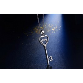 Valentine Key Hearts Key Pendant Necklace in Sterling Silver
