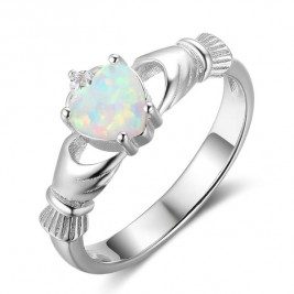 Sterling Silver Claddagh Ring With Heart Opal Stone