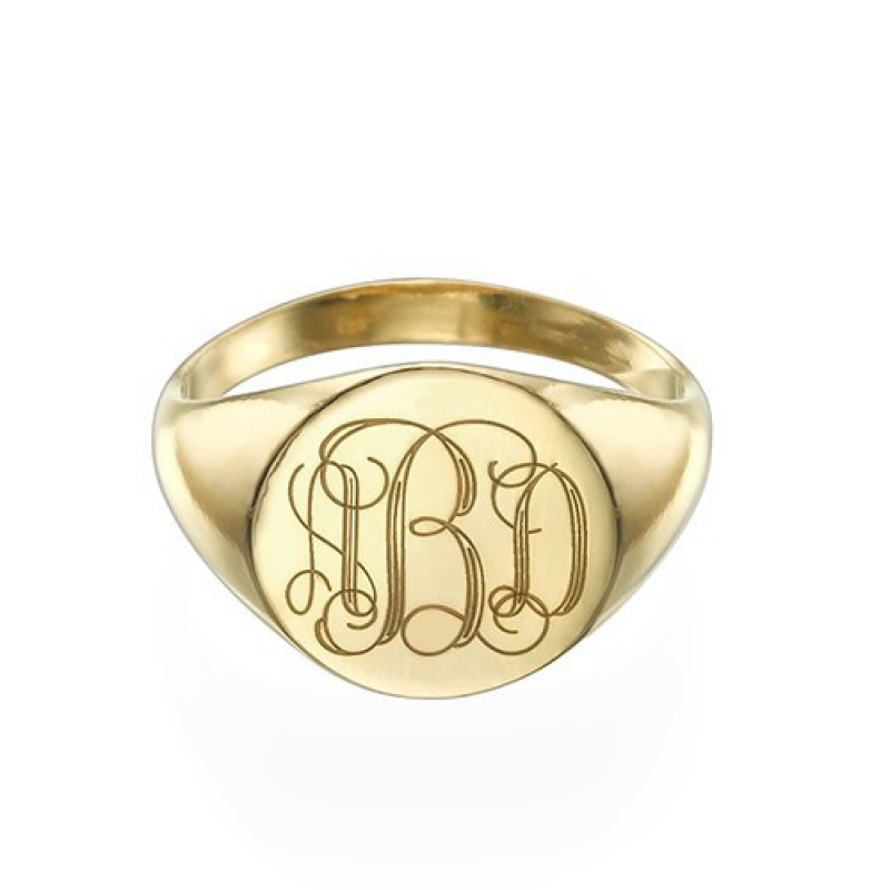 Signet Ring in Gold Plating with Engraved Monogram