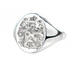 Signet Ring With FAMILY CREST In Sterling Silver