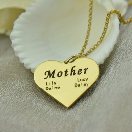 """Mother"" Heart Family Names Necklace 18ct Gold Plated"