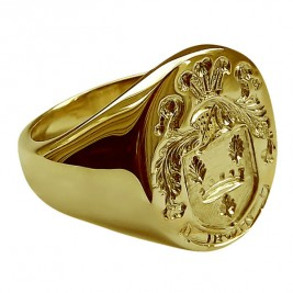 Coast Of Arms Signet Ring With Family Crest 18ct Gold Plated Sterling Silver