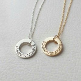 Personalised Sterling Silver Circle Necklace • Engraved Necklace