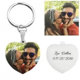 Heart Shape Coloured Photo Keyring Key Chain Sterling Silver