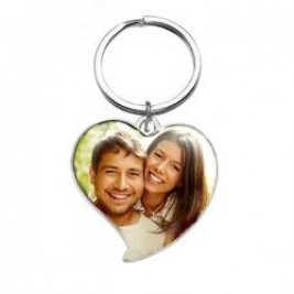 Heart Style Coloured Photo Keyring Key Chain Sterling Silver