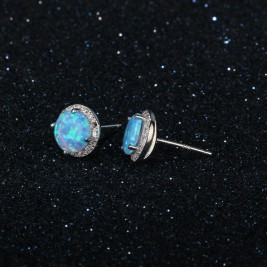 Vibrant Cultured Blue Opal Earrings set in 925 Silver(Round 8mm Blue Opal)
