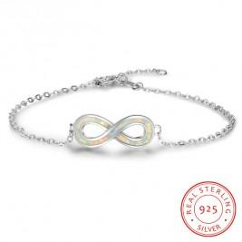 White Opal Infinity Bracelet 925 Sterling Silver
