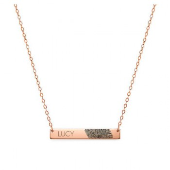 Actual Fingerprint And Name Necklace 1.5 inch in 18k Rose Gold Plated 925 Sterling Silver, Personalized Memorial Jewelry