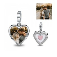 Personalized Sterling Silver Heart Photo Charm