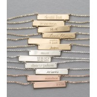 Silver Bar Necklace with Icons