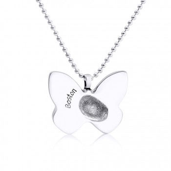 925 Sterling Silver FingerPrint Butterfly Pendant