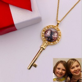Coloured Photo Key Necklace Sterling Silver