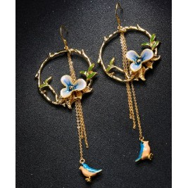 Long Tassel Hook Drop Earrings With Enamel Flower And Bird