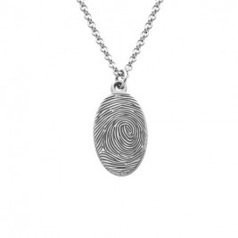 Fingerprint Oval Necklace in Sterling Silver