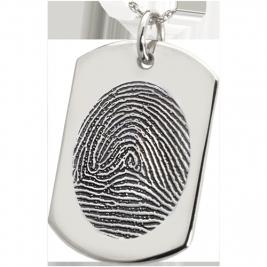 Large Fingerprint Dog Tag Solid Sterling Silver Engraved Dog Tag Necklace
