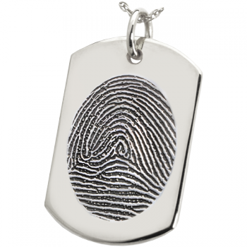 Large Fingerprint Dog Tag Solid Sterling Silver Engraved Dog Tag Necklace