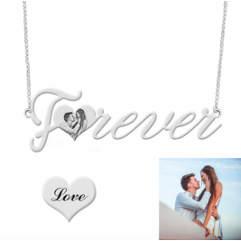 Forever Photo Engraved Necklace Sterling Silver