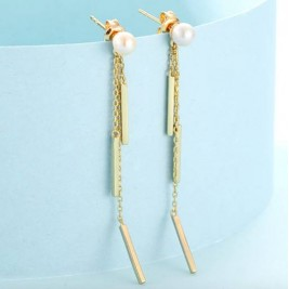 Gold Plated Sterling Silver Tassel Earrings Pearl Drop Earrings