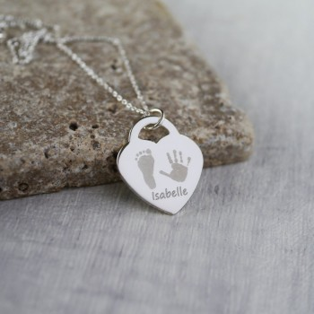 925 Sterling Silver Handprint / Footprint Heart Charm Necklace