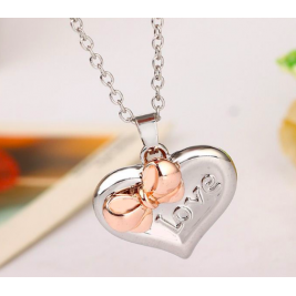 Cute Heart With Bow Two Coloured Necklace Personalised New Design