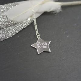 925 Sterling Silver Handprint / Footprint Star Necklace