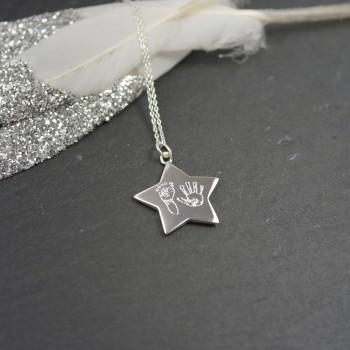 925 Sterling Silver Handprint / Footprint Star Necklace