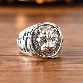 Solid Sterling Silver 3D Lion Head Signet Ring For Men