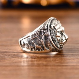 Solid Sterling Silver 3D Lion Head Signet Ring For Men