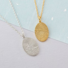 925 Sterling Silver FingerPrint Oval Pendant